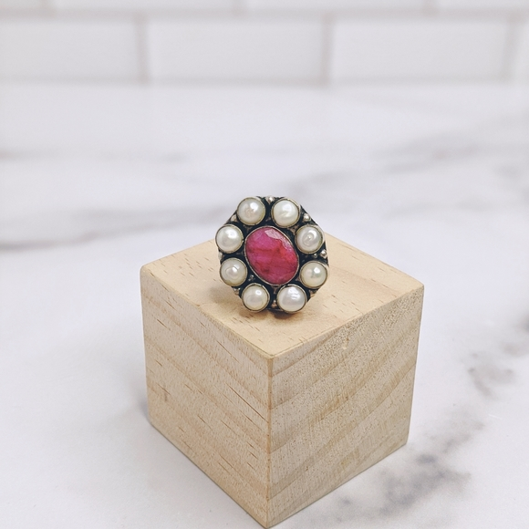 Silver plated natural gemstone & pearl ring